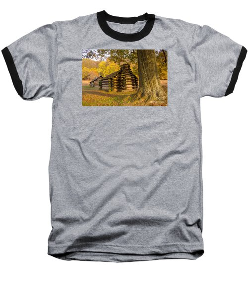 Baseball T-Shirt featuring the photograph Autumn And The Huts At Valley Forge by Rima Biswas