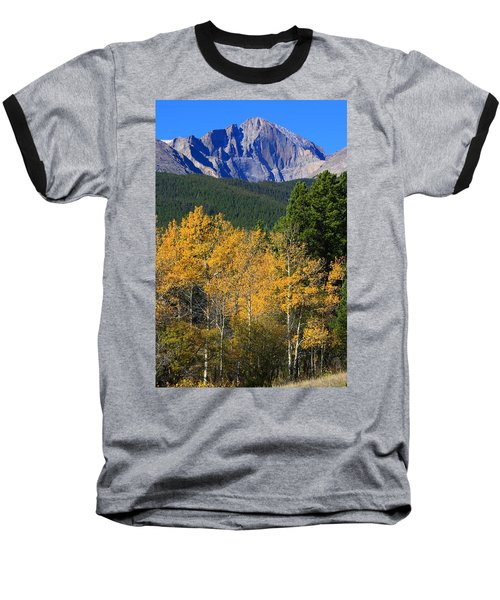 Autumn Aspens And Longs Peak Baseball T-Shirt