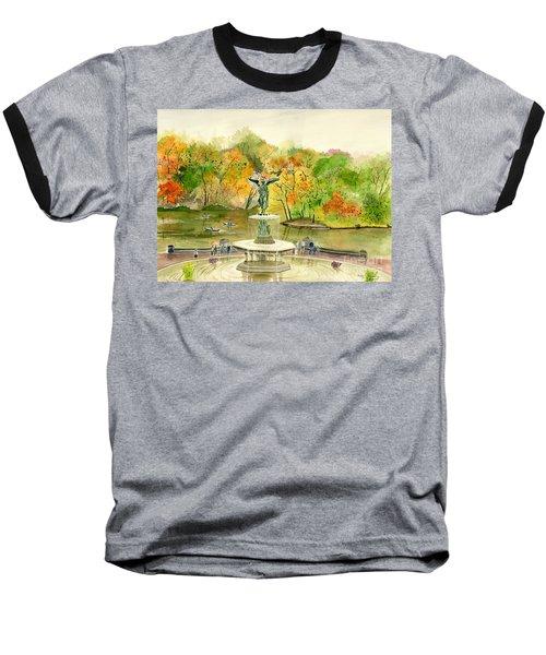 Autumn At Central Park Ny Baseball T-Shirt by Melly Terpening