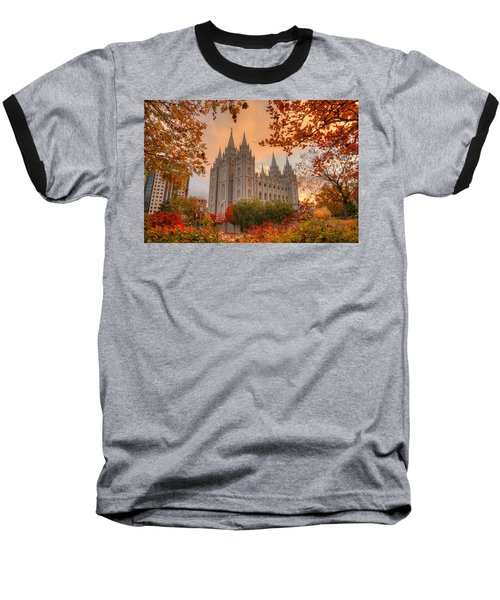 Autumn At Temple Square Baseball T-Shirt by Dustin  LeFevre