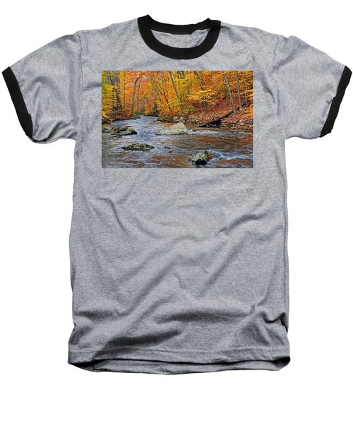 Autumn At The Black River Baseball T-Shirt by Dave Mills