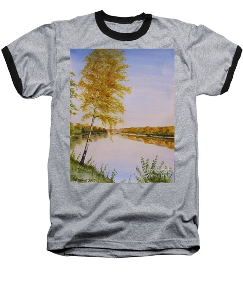 Autumn By The River Baseball T-Shirt by Martin Howard