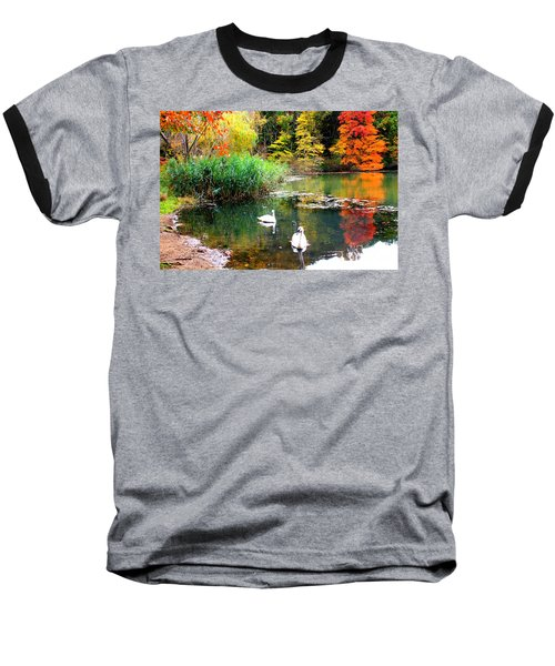Autumn By The Swan Lake Baseball T-Shirt by Dora Sofia Caputo Photographic Art and Design