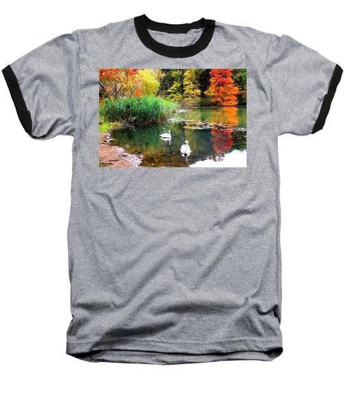 Autumn By The Swan Lake Baseball T-Shirt