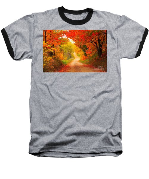 Baseball T-Shirt featuring the photograph Autumn Cameo Road by Terri Gostola