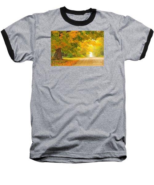 Autumn Cascade Baseball T-Shirt by Terri Gostola