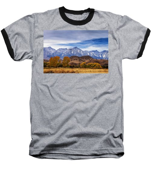 Baseball T-Shirt featuring the photograph Autumn Colors And Mount Whitney by Andrew Soundarajan