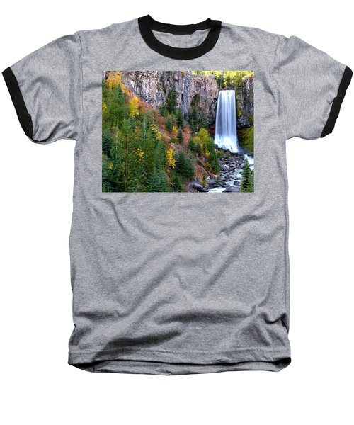Baseball T-Shirt featuring the photograph Autumn Colors Surround Tumalo Falls by Kevin Desrosiers