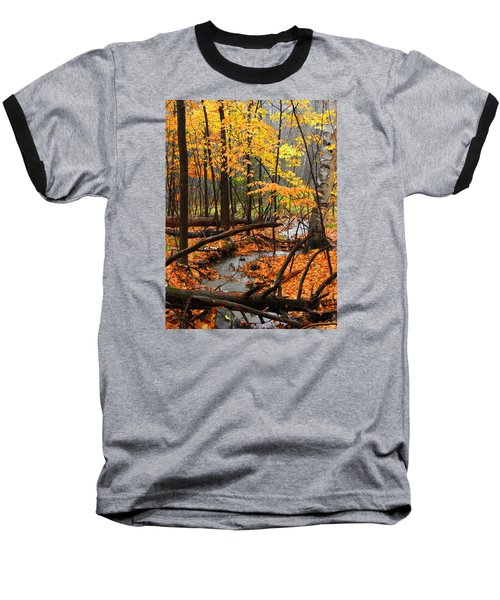 Baseball T-Shirt featuring the photograph Autumn Creek In The Rain by Rodney Lee Williams