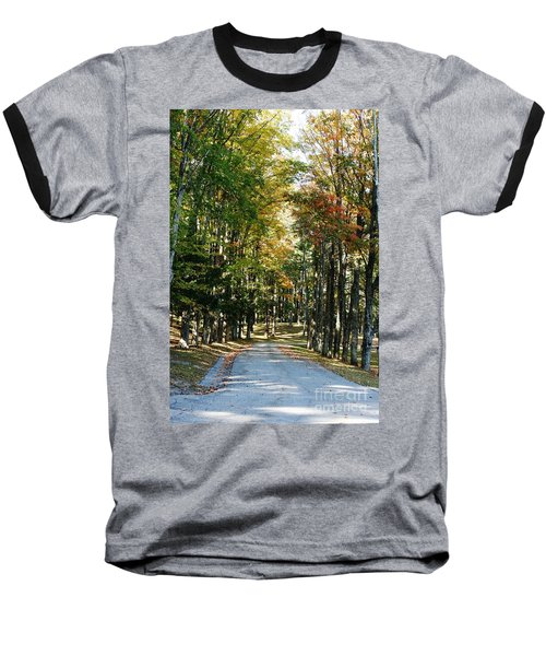 Autumn Drive Baseball T-Shirt by Barbara Bardzik