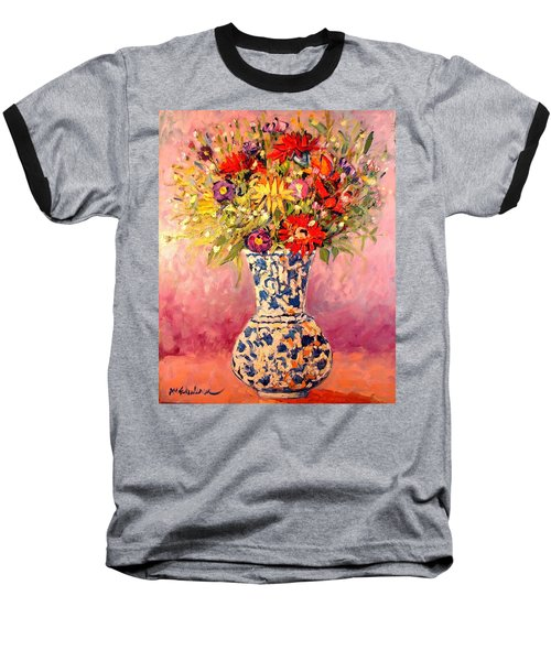 Baseball T-Shirt featuring the painting Autumn Flowers by Ana Maria Edulescu