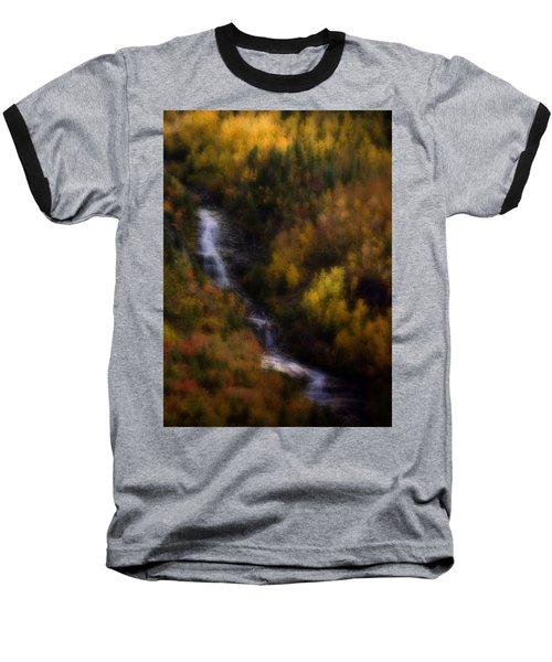 Baseball T-Shirt featuring the photograph Autumn Forest Falls by Ellen Heaverlo