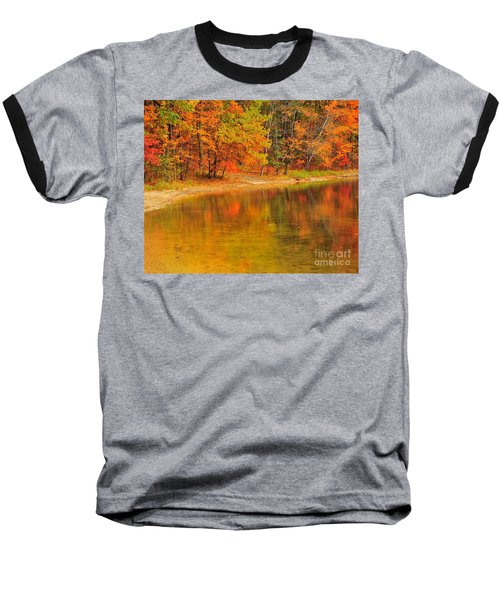 Autumn Forest Reflection Baseball T-Shirt