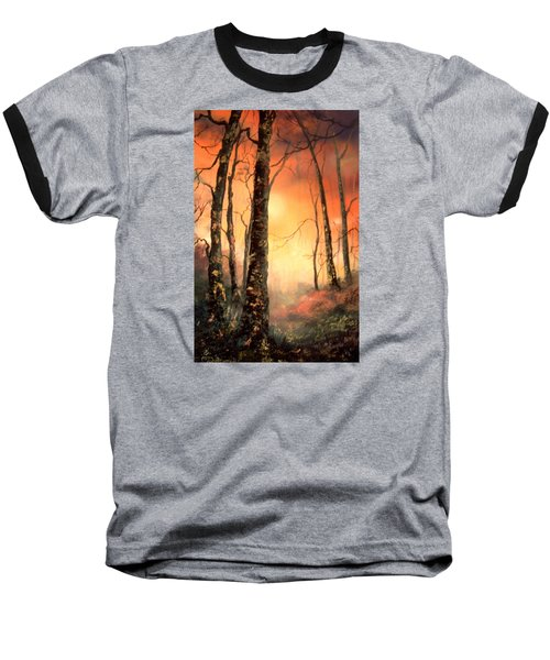 Baseball T-Shirt featuring the painting Autumn Glow by Jean Walker