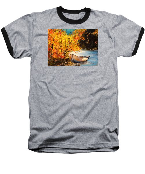 Baseball T-Shirt featuring the painting Autumn Gold by Alan Lakin