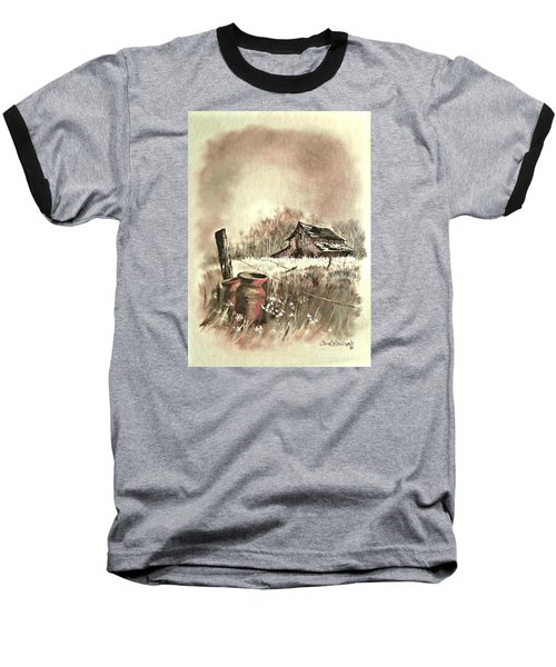 Baseball T-Shirt featuring the painting Autumn In View At Mac Gregors Barn by Carol Wisniewski