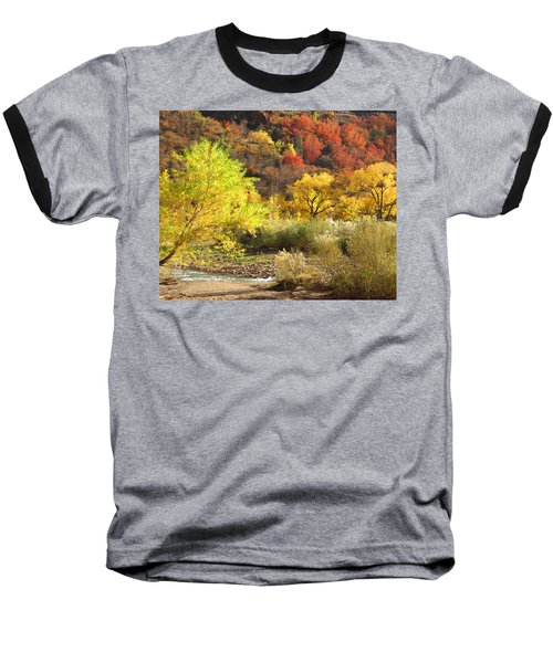 Baseball T-Shirt featuring the photograph Autumn In Zion by Alan Socolik