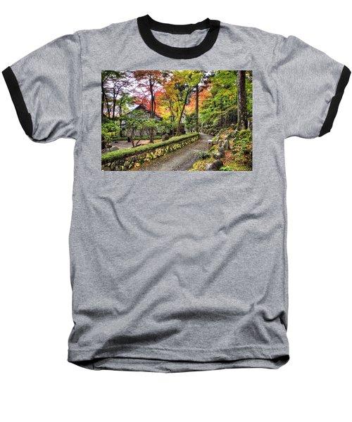 Autumn Walk Baseball T-Shirt by John Swartz