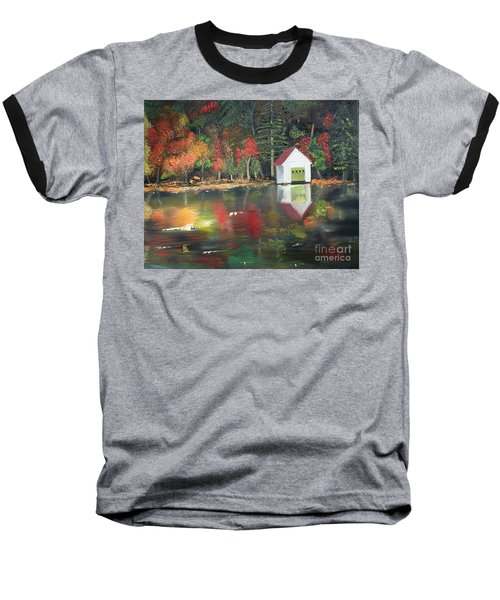 Autumn - Lake - Reflecton Baseball T-Shirt