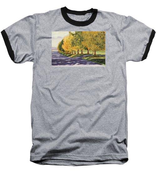 Autumn Lane Baseball T-Shirt by Alan Mager