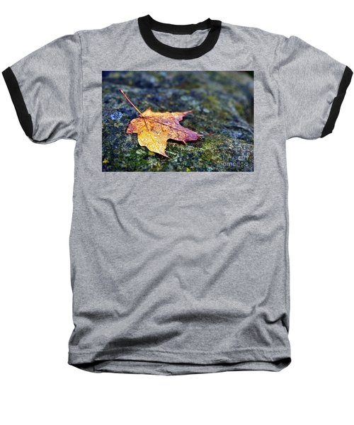 Autumn Leaf On Rocky Ledge Baseball T-Shirt