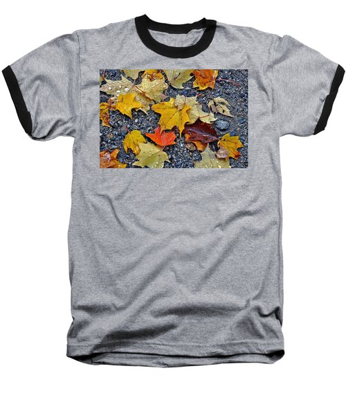 Autumn Leaves In Rain Baseball T-Shirt