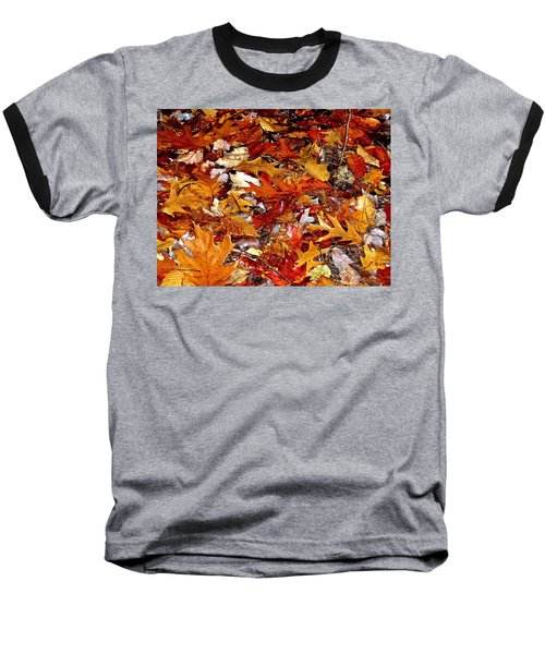 Autumn Leaves On The Ground In New Hampshire - Bright Colors Baseball T-Shirt