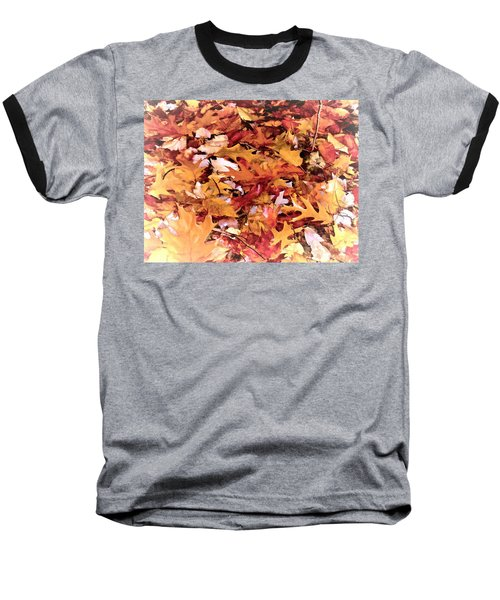 Autumn Leaves On The Ground In New Hampshire In Muted Colors Baseball T-Shirt