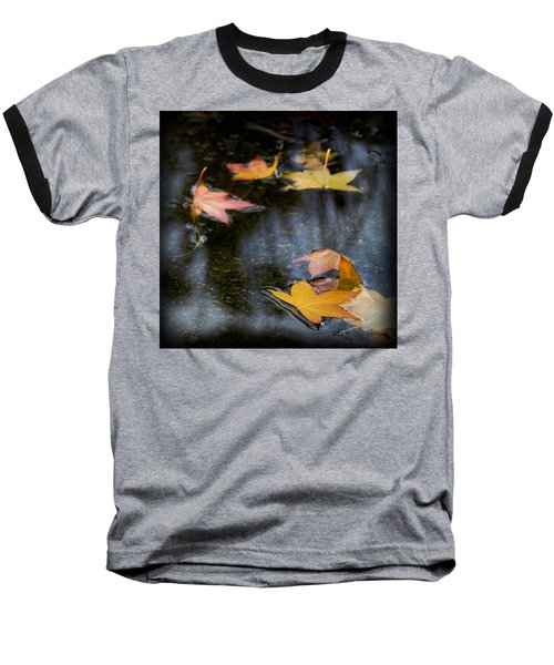 Autumn Leaves On Water Baseball T-Shirt by Yulia Kazansky