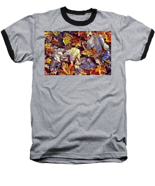 Autumn Leaves With Frost Baseball T-Shirt