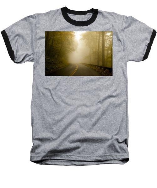 Autumn Mist Blue Ridge Parkway Baseball T-Shirt