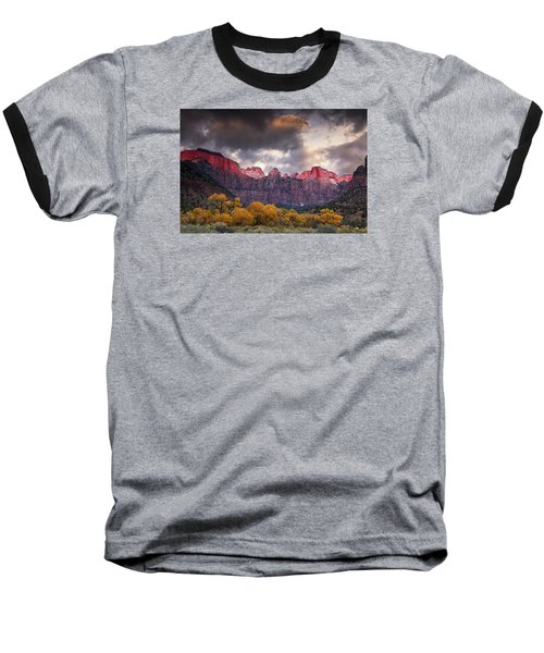 Baseball T-Shirt featuring the photograph Autumn Morning In Zion by Andrew Soundarajan