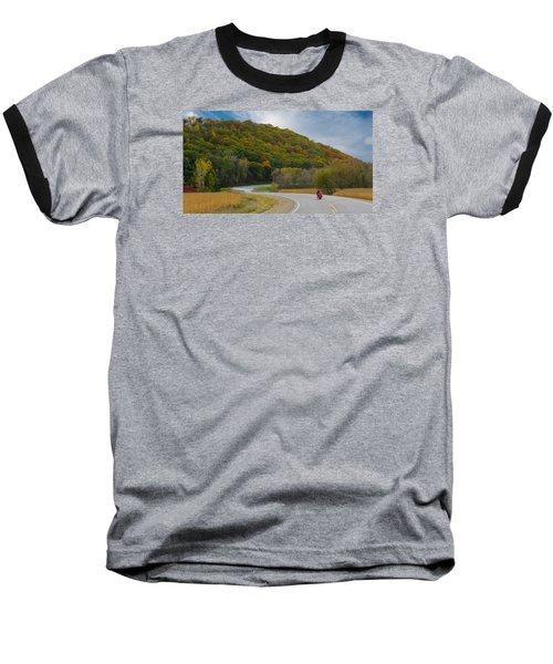 Autumn Motorcycle Rider / Orange Baseball T-Shirt
