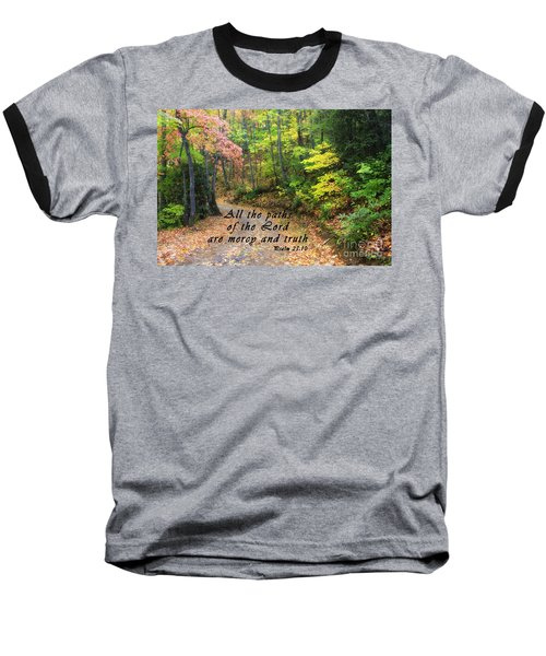 Autumn Path With Scripture Baseball T-Shirt