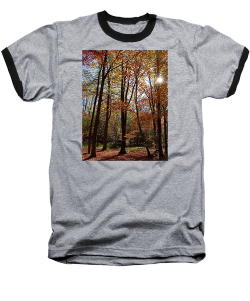 Autumn Picnic Baseball T-Shirt by Debbie Oppermann
