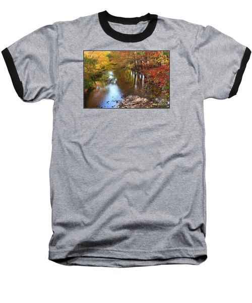 Autumn Reflection Baseball T-Shirt by Dora Sofia Caputo Photographic Art and Design