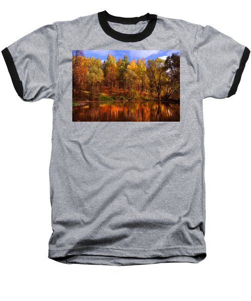 Autumn Reflections Baseball T-Shirt by Jenny Rainbow