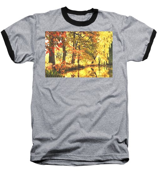 Baseball T-Shirt featuring the painting Autumn Reflections by Sophia Schmierer