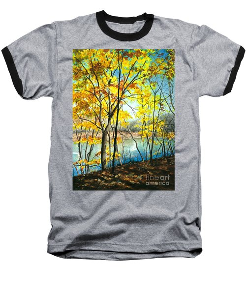 Autumn River Walk Baseball T-Shirt by Barbara Jewell