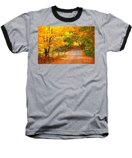 Baseball T-Shirt featuring the photograph Autumn Road Home by Terri Gostola