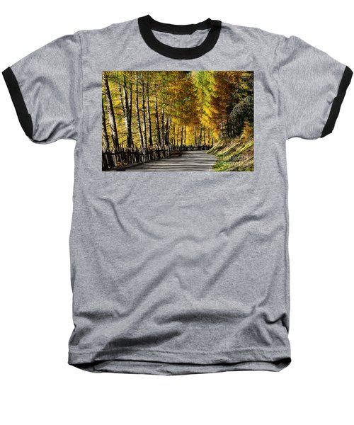 Winding Road Through The Autumn Trees Baseball T-Shirt