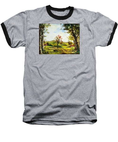 Baseball T-Shirt featuring the painting Autumn Road by Lee Piper