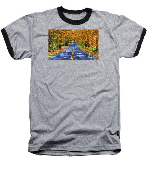 Autumn Road Oneida County Ny Baseball T-Shirt by Diane E Berry