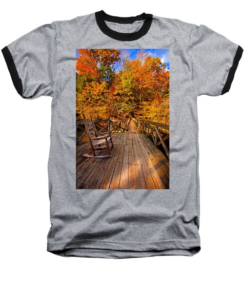 Autumn Rocking On Wooden Bridge Landscape Print Baseball T-Shirt