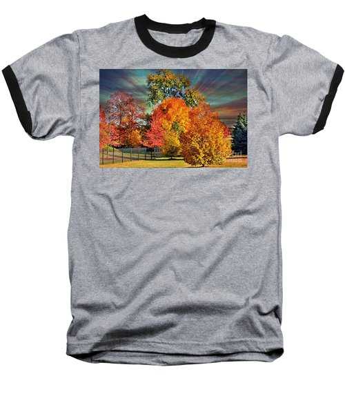 Autumn Splendor Baseball T-Shirt by Judy Palkimas