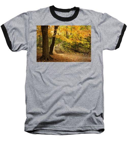 Autumn Stairs Baseball T-Shirt