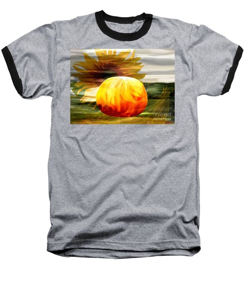 Baseball T-Shirt featuring the photograph Autumn Sunflower And Pumpkin by Annie Zeno