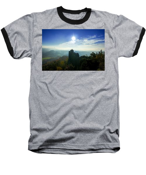 Autumn Sunrise In The Elbe Sandstone Mountains Baseball T-Shirt