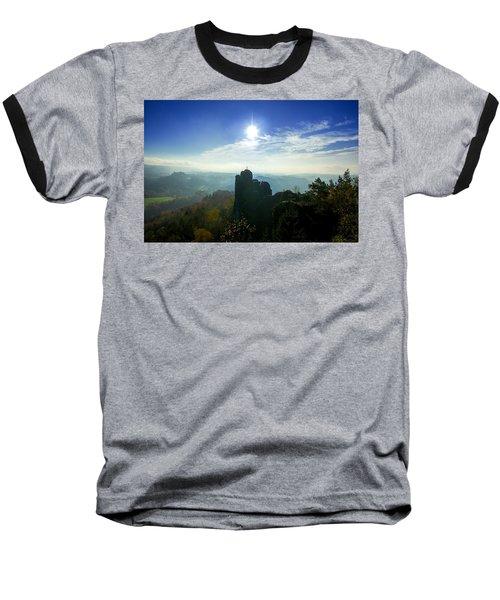 Autumn Sunrise In The Elbe Sandstone Mountains Baseball T-Shirt