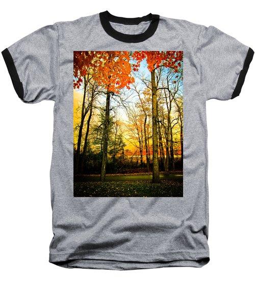 Baseball T-Shirt featuring the photograph Autumn Sunset  by Sara Frank